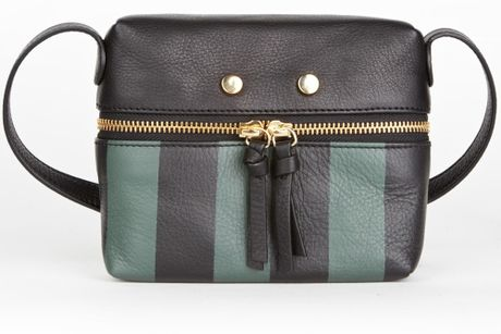 Tl-180 Green Striped Leather Mini Zip Bag in Green