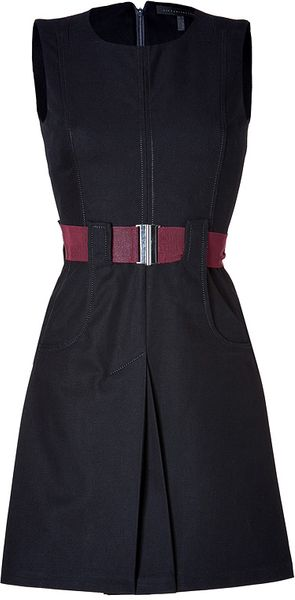 Victoria Beckham Cotton Belted Dress in Navy - Lyst
