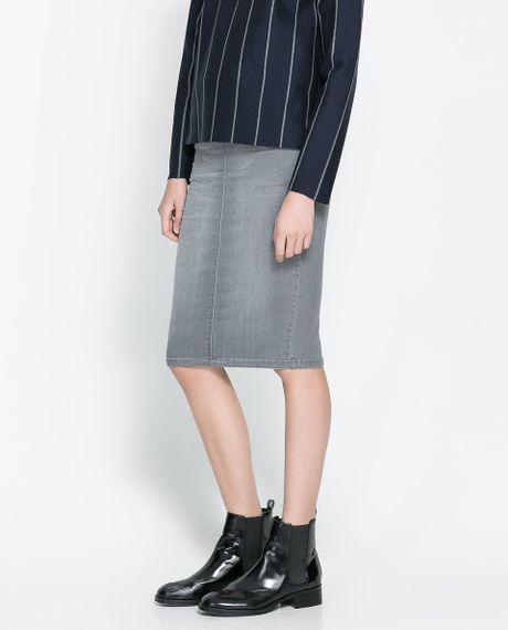 zara denim pencil skirt in gray grey lyst