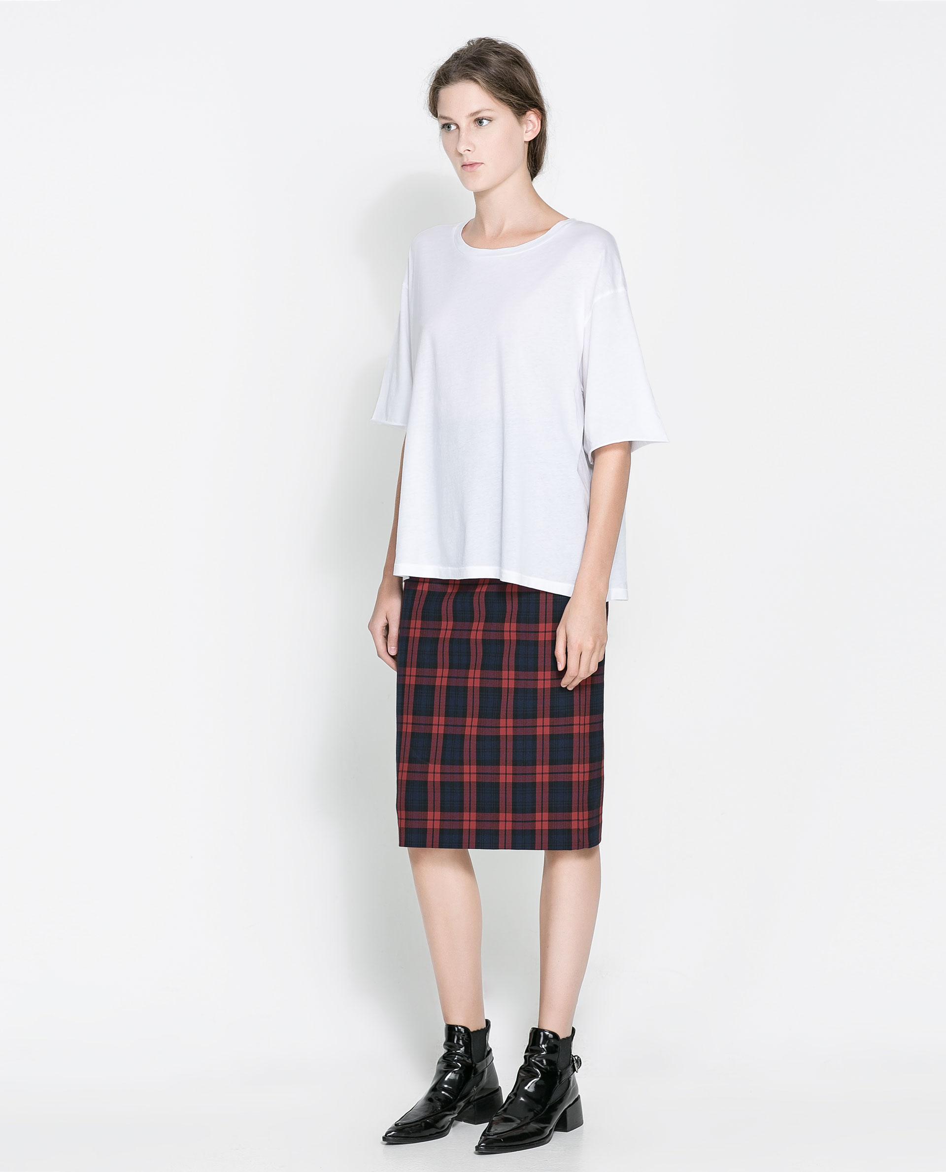 zara checked pencil skirt in lyst