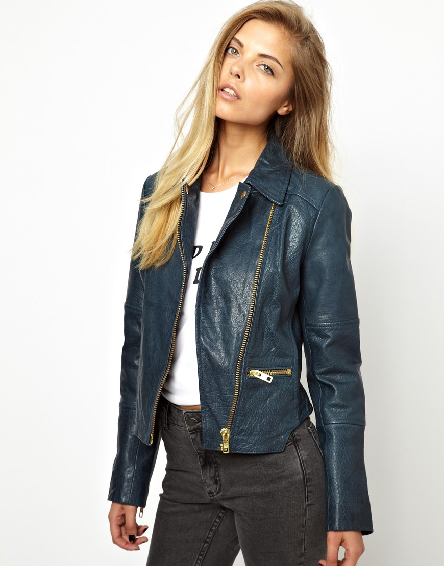 Lyst Asos Curved Hem Leather Jacket In Blue