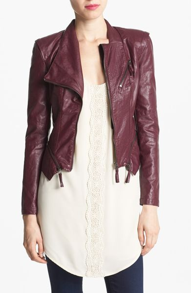 Blank Faux Leather Jacket in Red | Lyst