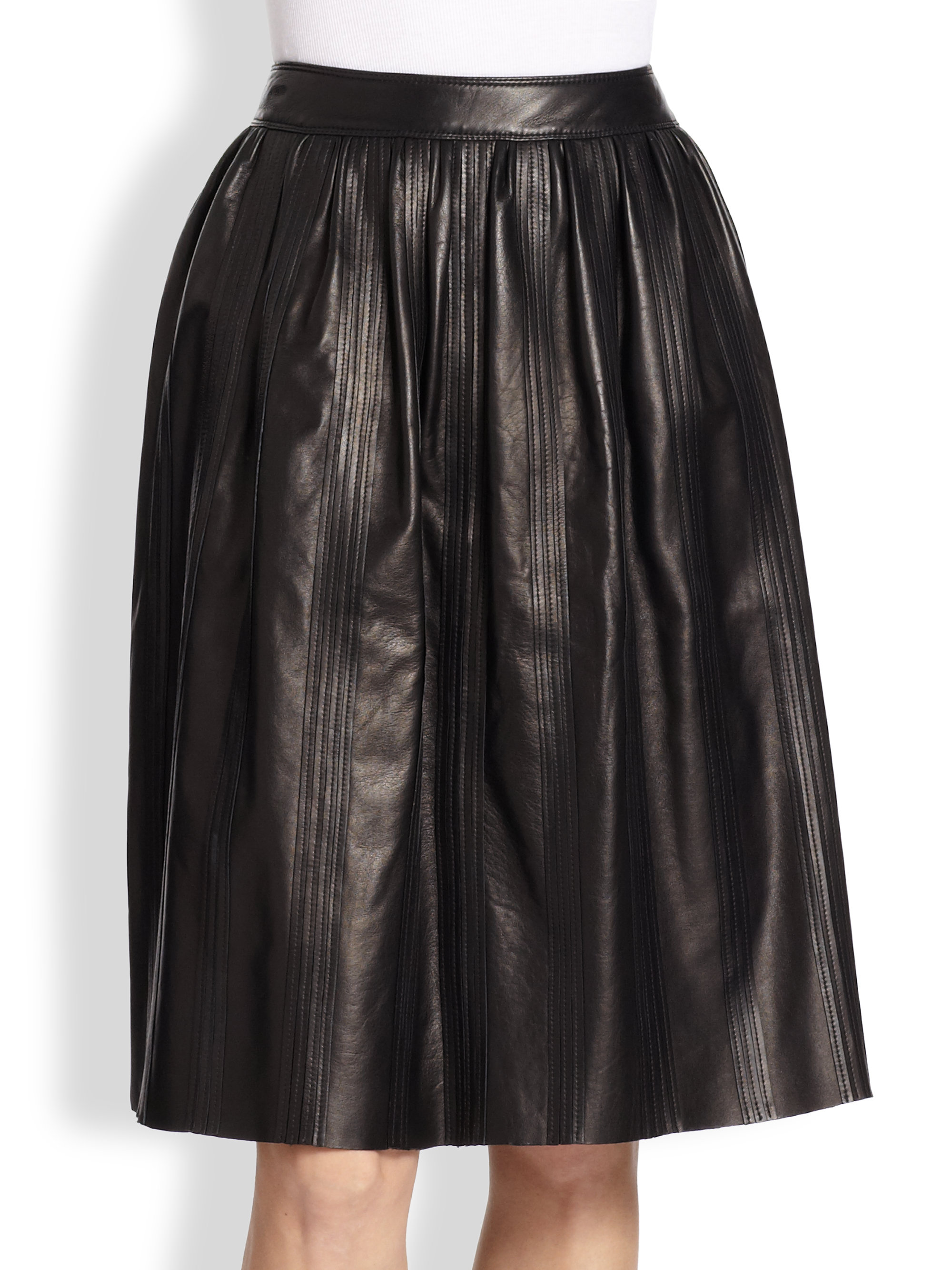 burberry leather midi skirt in black lyst