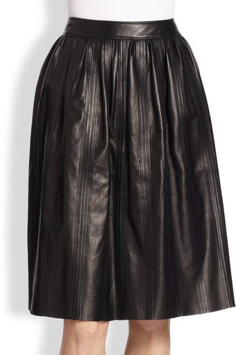 Burberry Leather Full Midi Skirt - Lyst