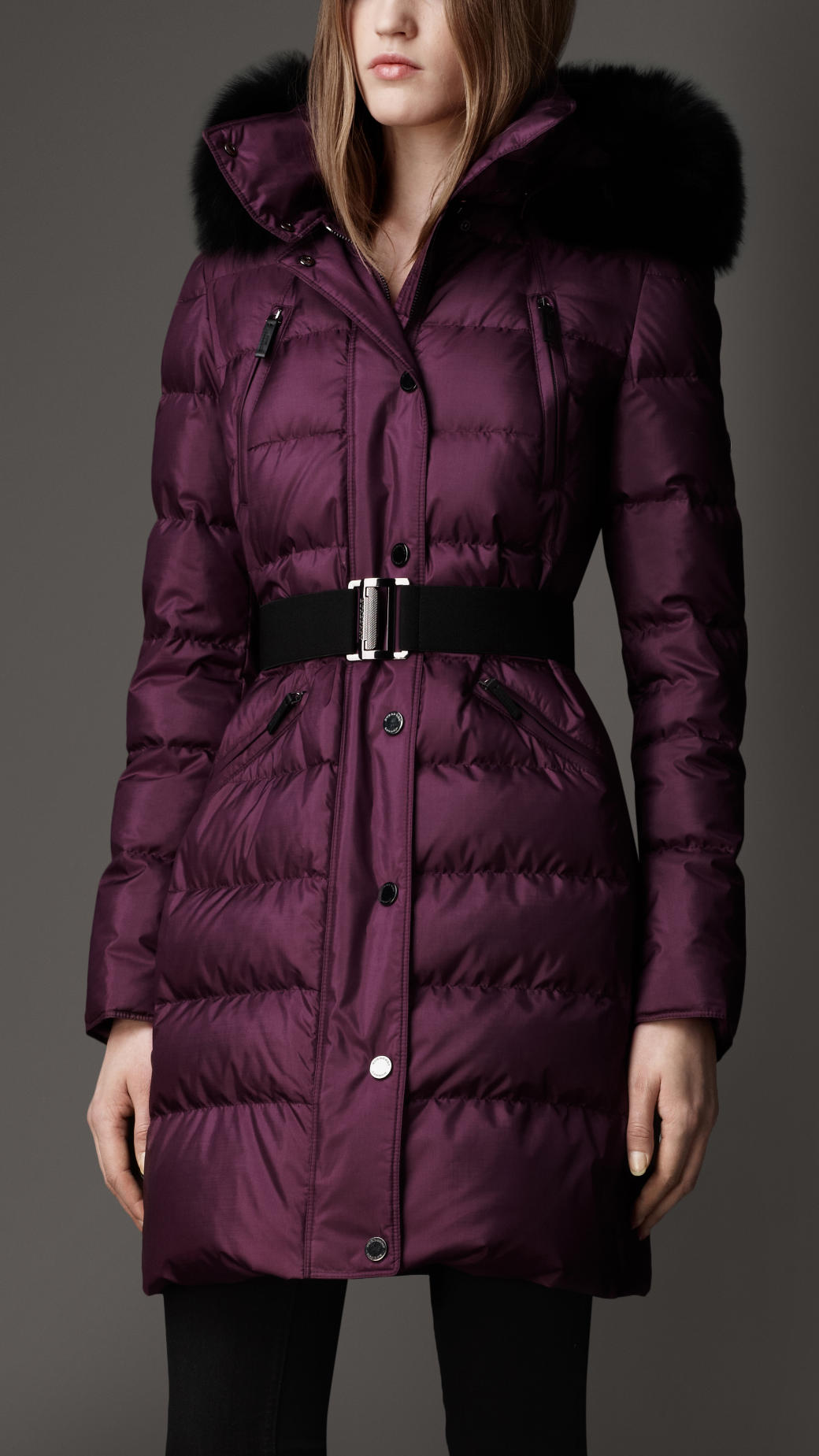 Burberry Fur Trim Puffer Coat In Purple Plum Lyst