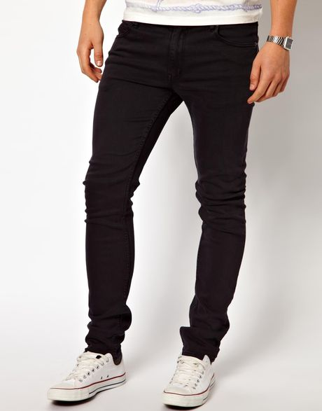 asos cheap monday jeans tight skinny fit in almost black. Black Bedroom Furniture Sets. Home Design Ideas