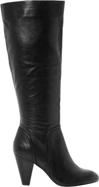 dune sip knee high heeled leather boots in black lyst