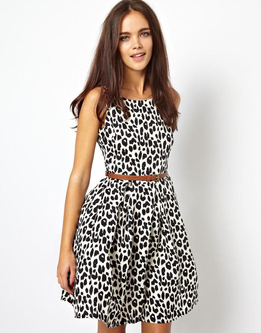 Glamorous Skater Dress In Leopard Print In Black Lyst