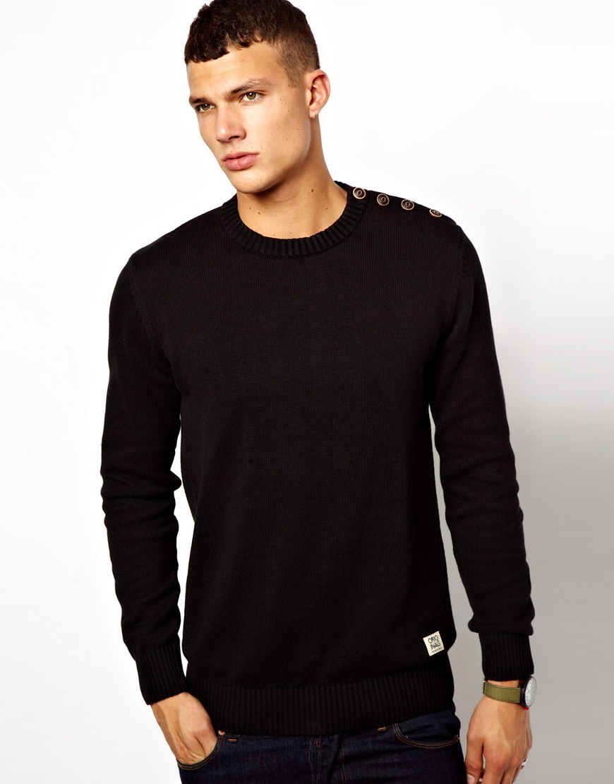 asos jack jones sweater with button shoulder in black for. Black Bedroom Furniture Sets. Home Design Ideas
