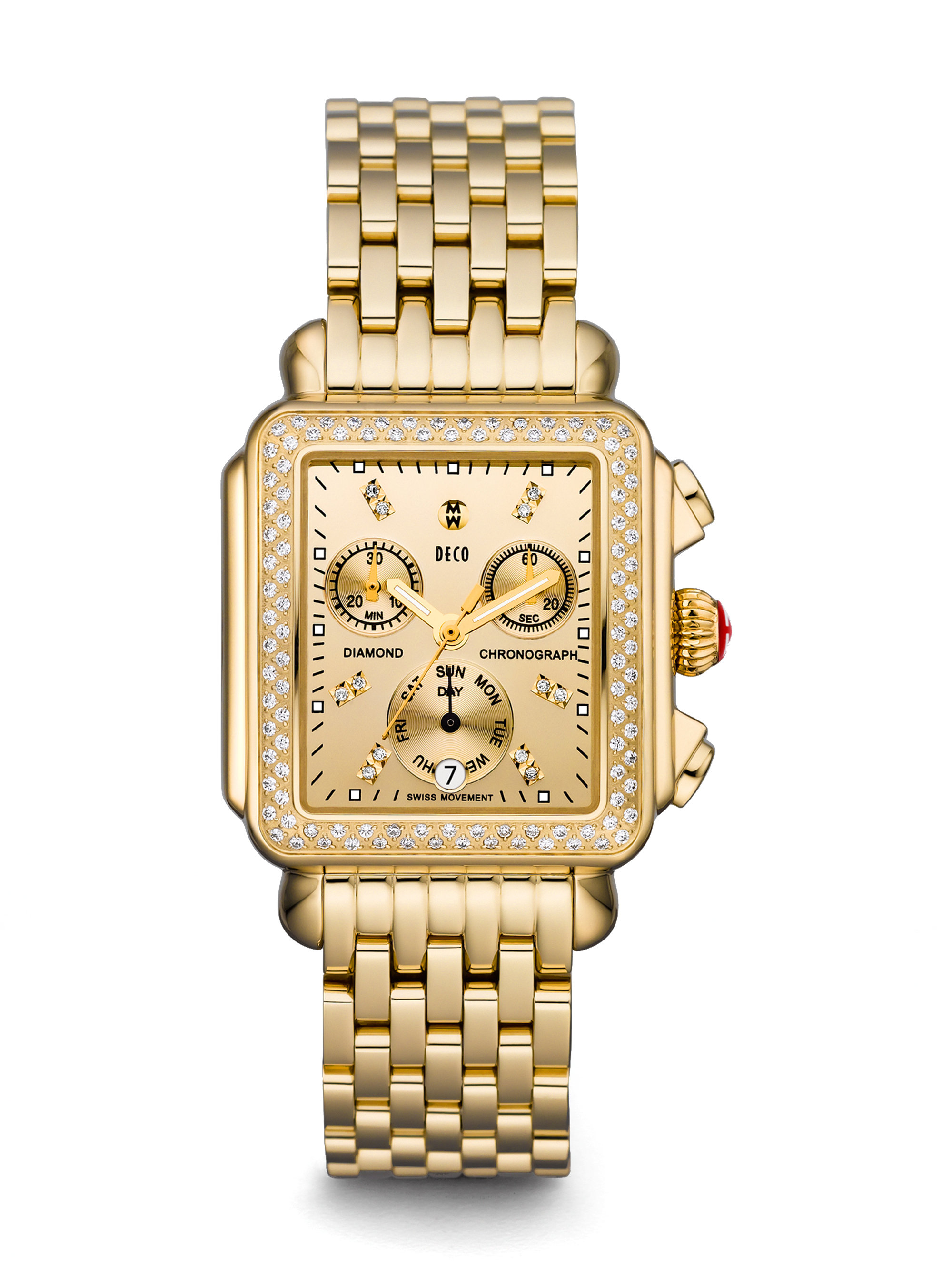 michele deco chronograph bracelet in gold lyst