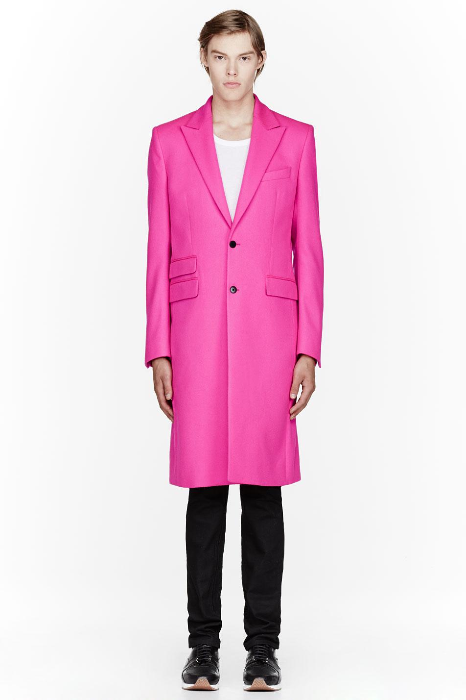 Mugler Fluorescent Pink Wool Coat In Pink For Men Lyst