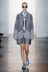 Peter Som Spring 2014 Mid-Thigh Length Coat in Optical Motif