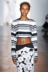 Peter Som Spring 2014 Long Sleeve Cropped Top in Black and White Stripes