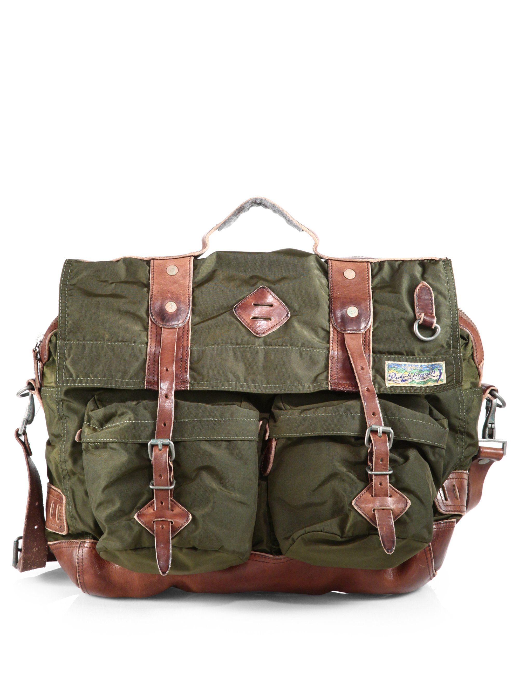 ffaa0ca2b9 ... canvas and leather messenger bag lyst 8d5df e491c  discount code for lyst  polo ralph lauren yosemite messenger in green for men 6d1f4 2a40b