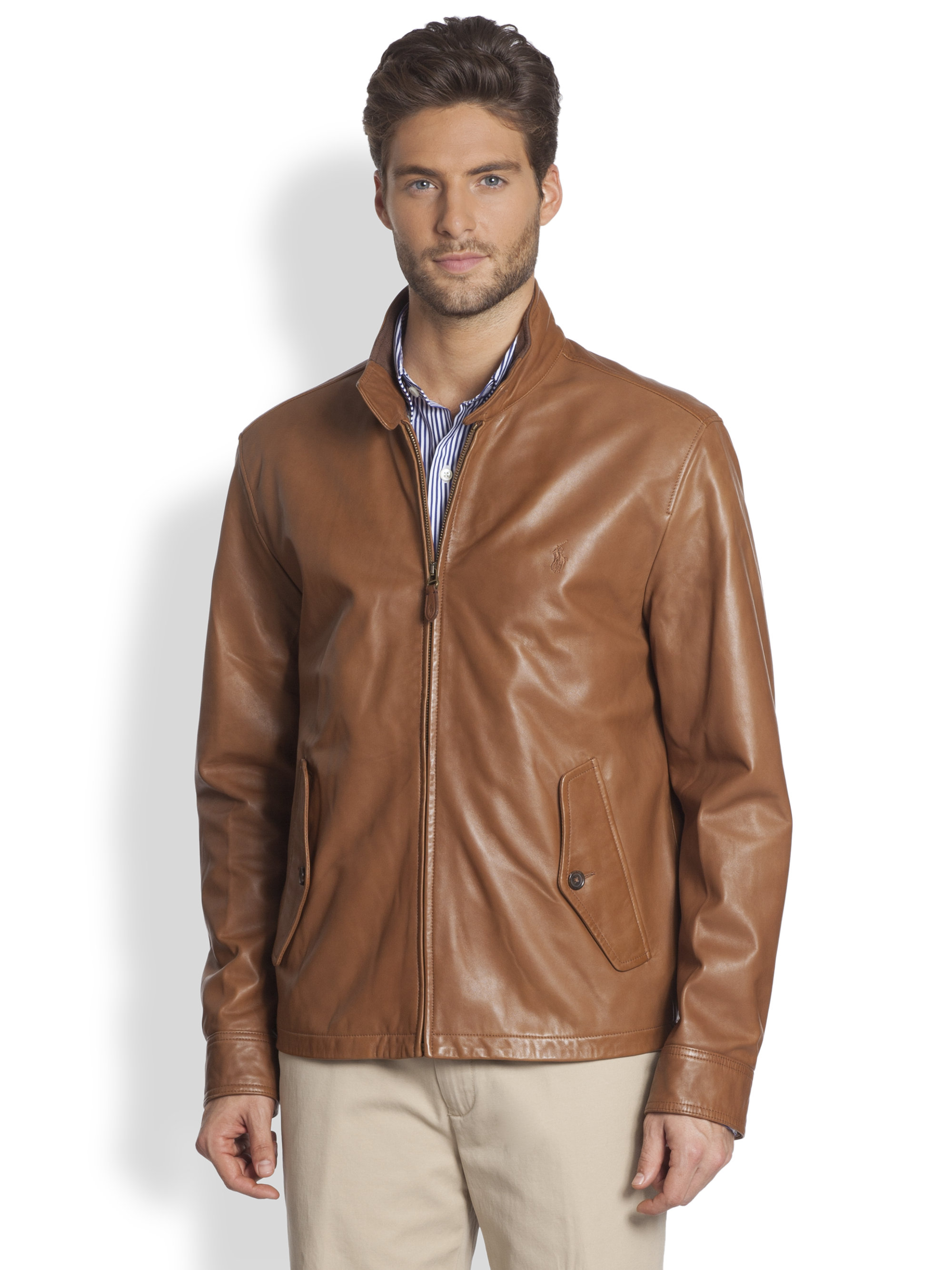 polo ralph lauren leather barracuda jacket in brown for. Black Bedroom Furniture Sets. Home Design Ideas