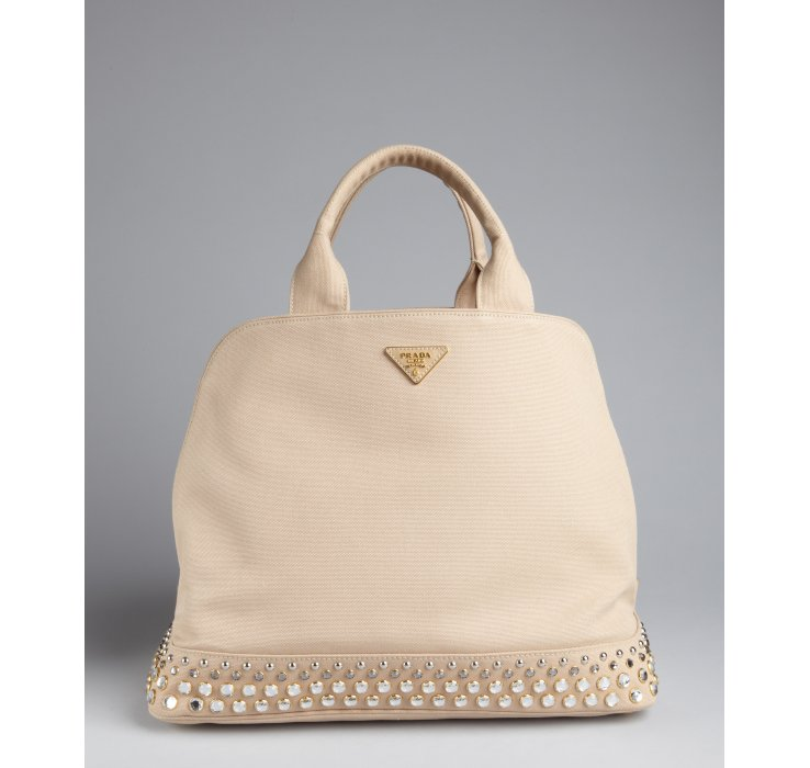Prada Rope Canvas Jeweled Base Top Handle Bag in Beige (silver) | Lyst