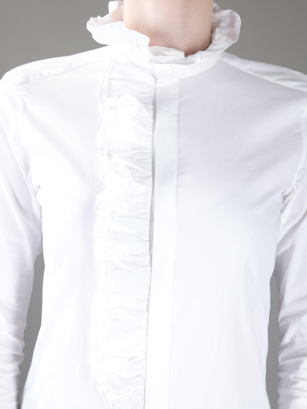 09755e48ab ... spain lyst ralph lauren blue label ruffle detail shirt in white b8815  eaa57
