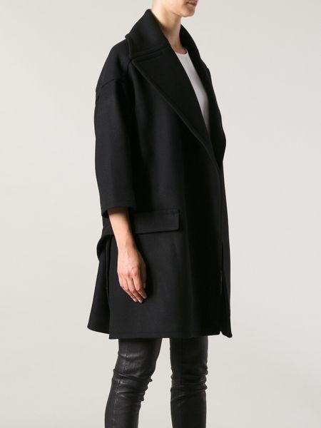 Rochas Oversized Coat In Black Lyst