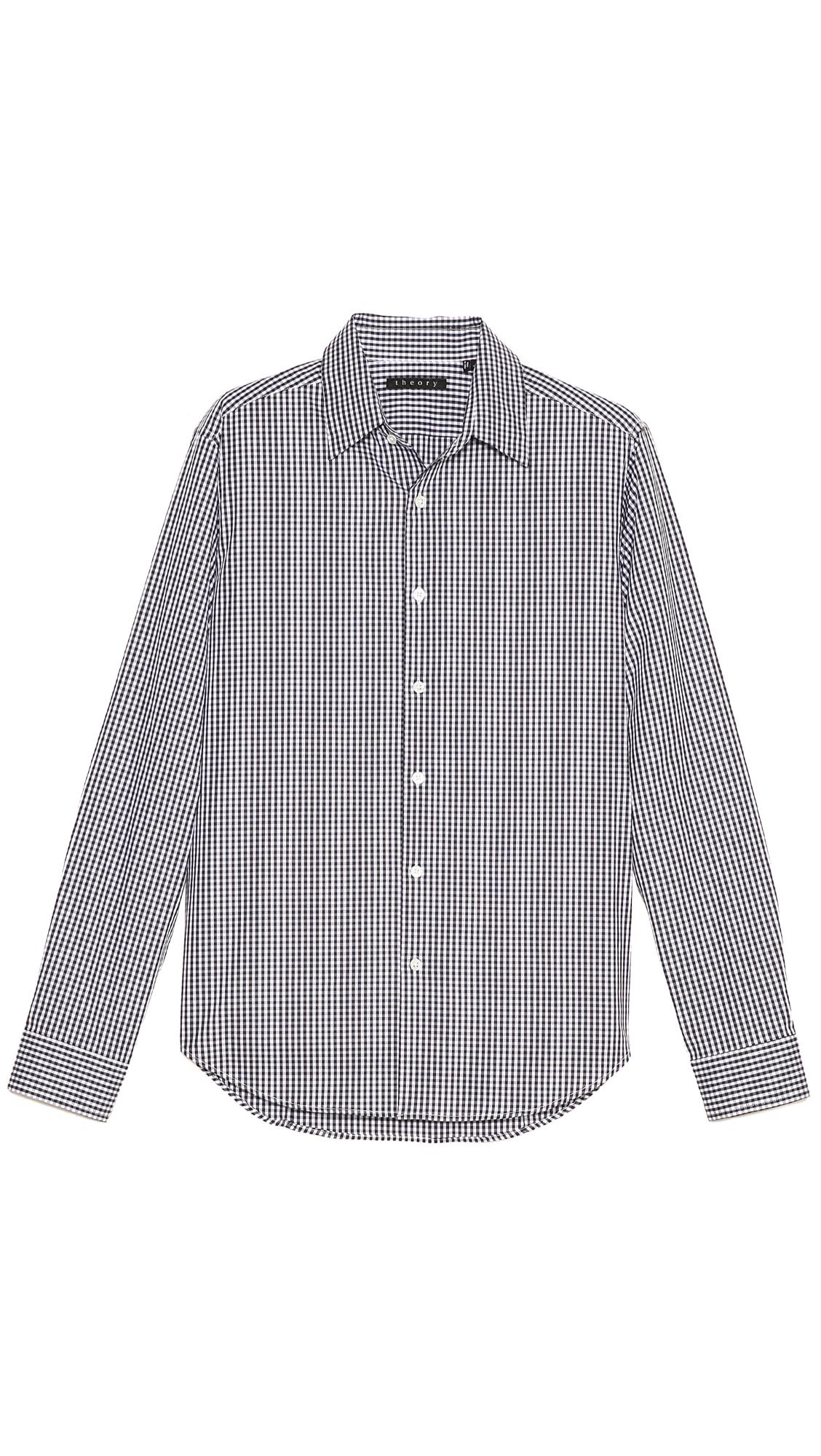 Theory sylvain gingham dress shirt in black for men black for Gingham dress shirt men