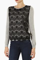 Topshop Lace Overlay Knit Sweater - Lyst