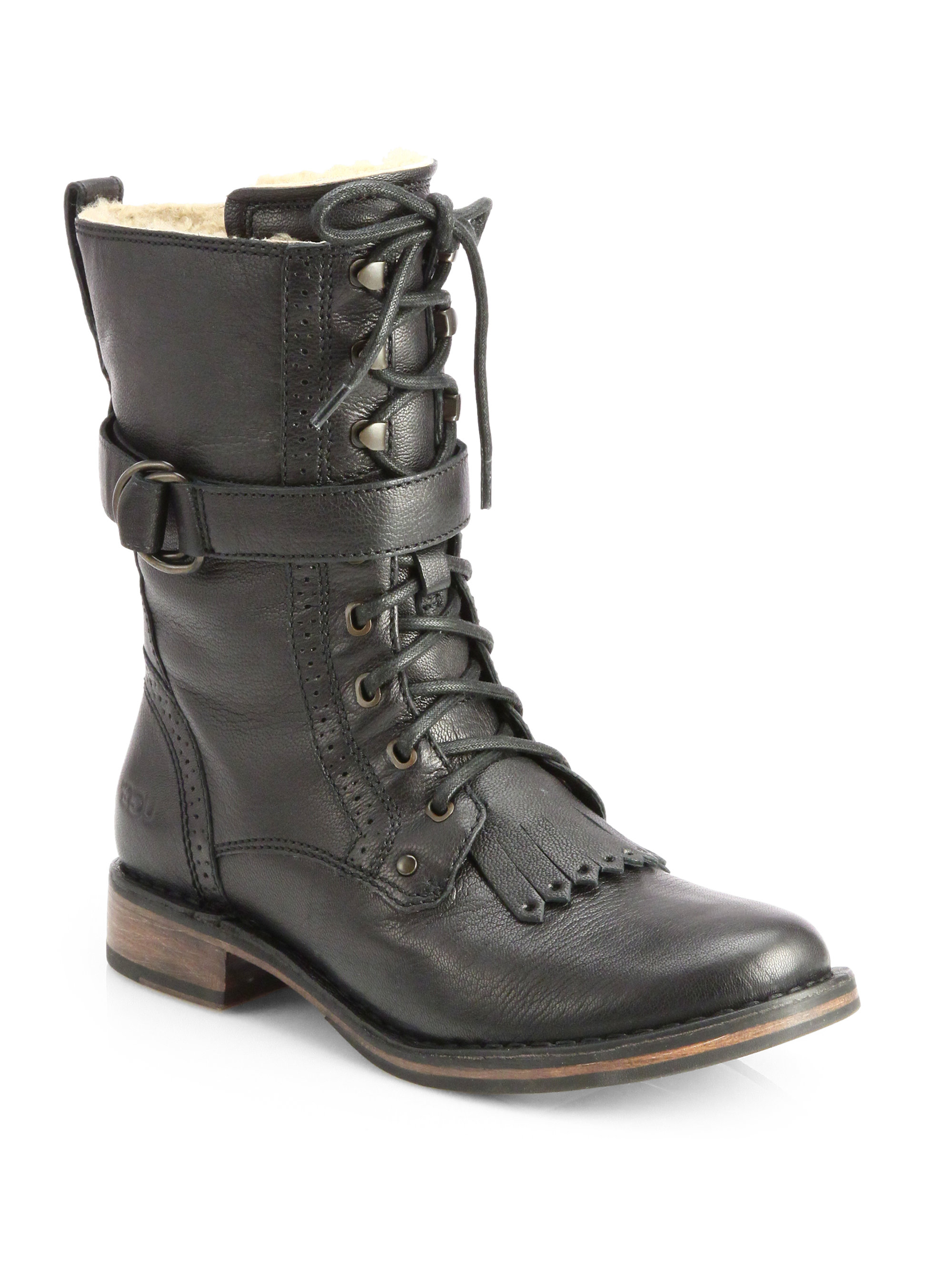 Ugg Jena Leather Laceup Combat Boots In Gray Lyst