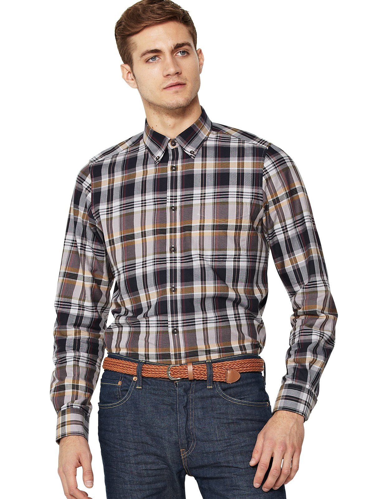 Ben Sherman Mens Laundered Twill Madras Check Shirt In