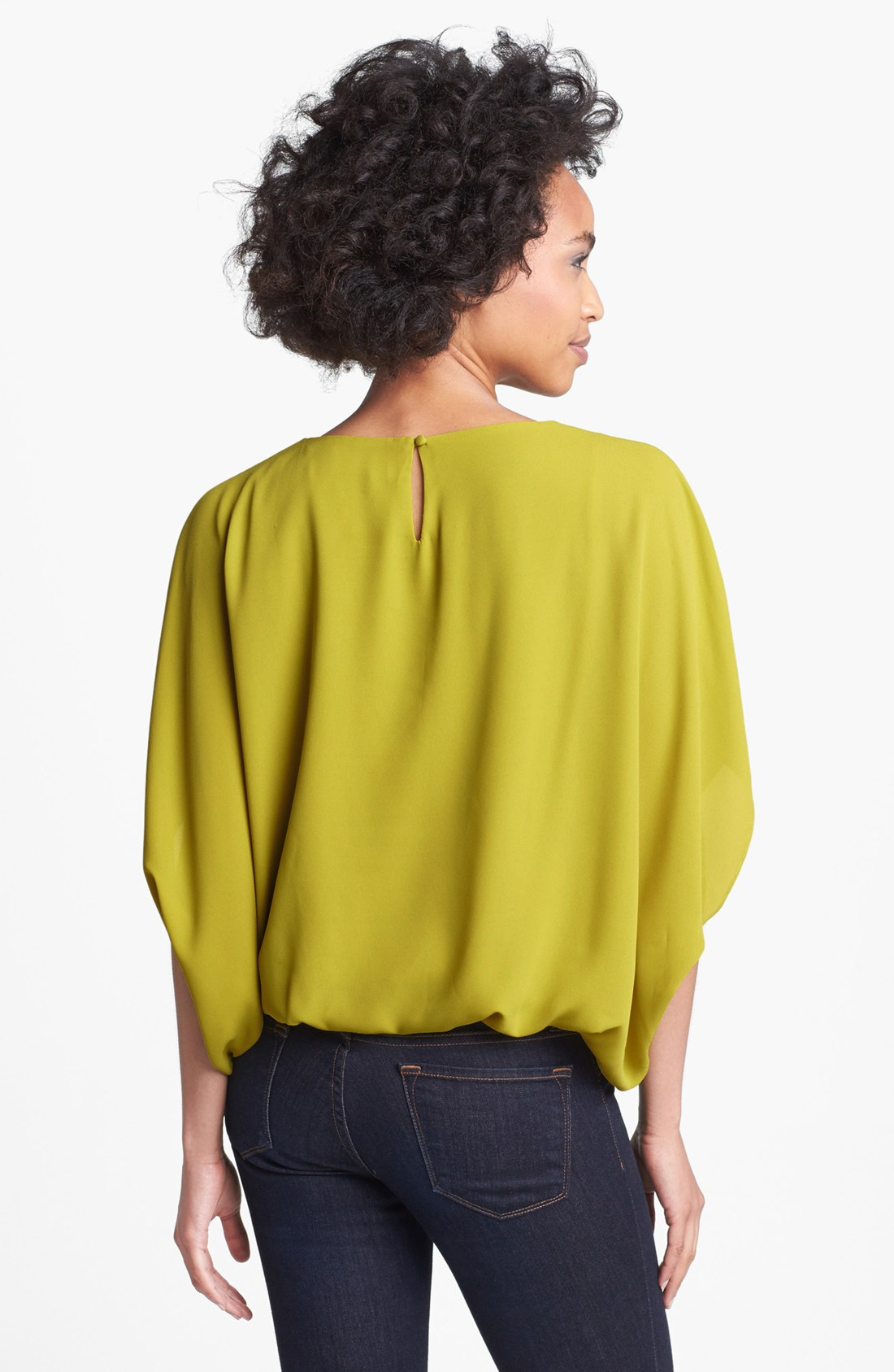 Vince Camuto Batwing Blouse In Yellow Avocado Lyst