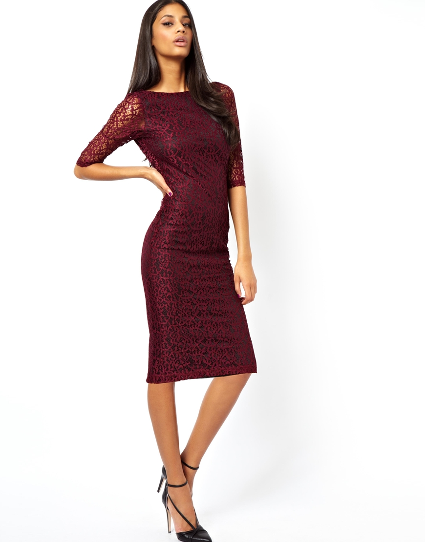 Lyst Asos Exclusive Lace Midi Knot Back Dress With 3 4 Length