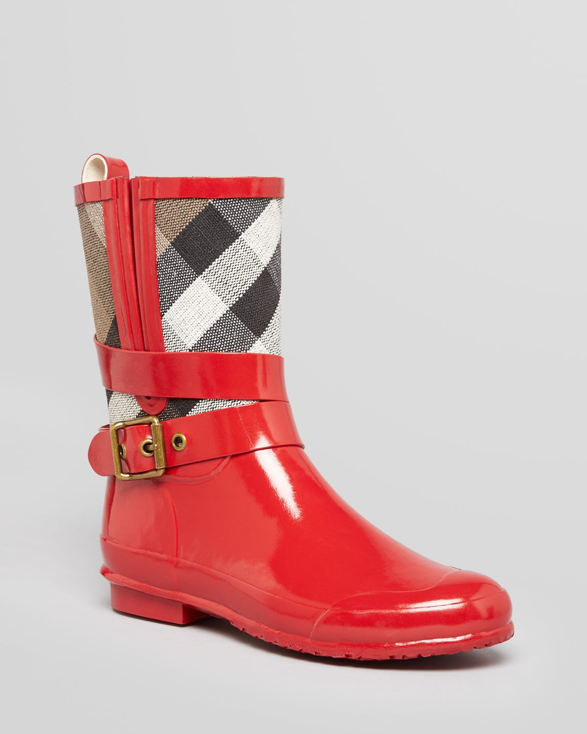 05e285e2bbcd Lyst - Burberry Rain Boots Holloway Check Mid Biker in Red