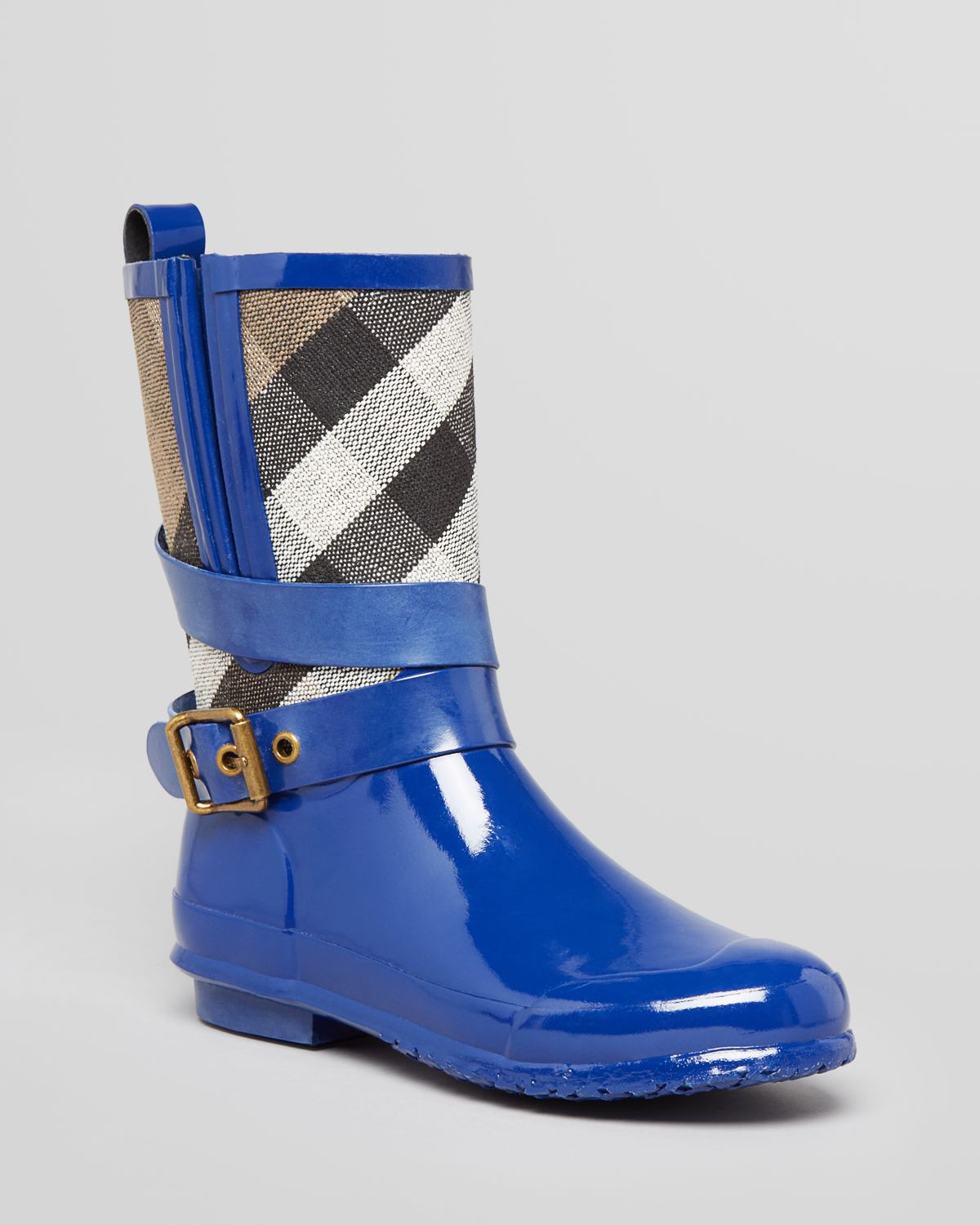 Burberry Rain Boots Holloway Check Mid Biker in Blue | Lyst