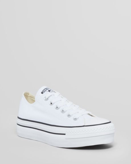 converse lace up platform sneakers all in white lyst