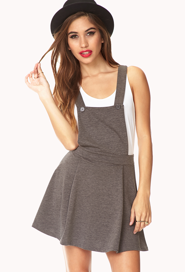 Lyst - Forever 21 No-Fuss Overall Dress in Gray