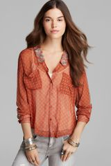Free People Top Printed Easy Rider Button Down - Lyst