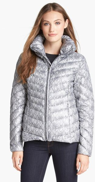 Jessica Simpson Lace Print Down Jacket In Silver Silver