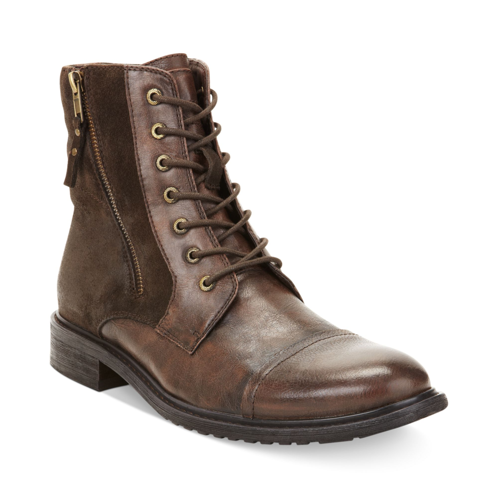 kenneth cole reaction hit captoe boots in brown for