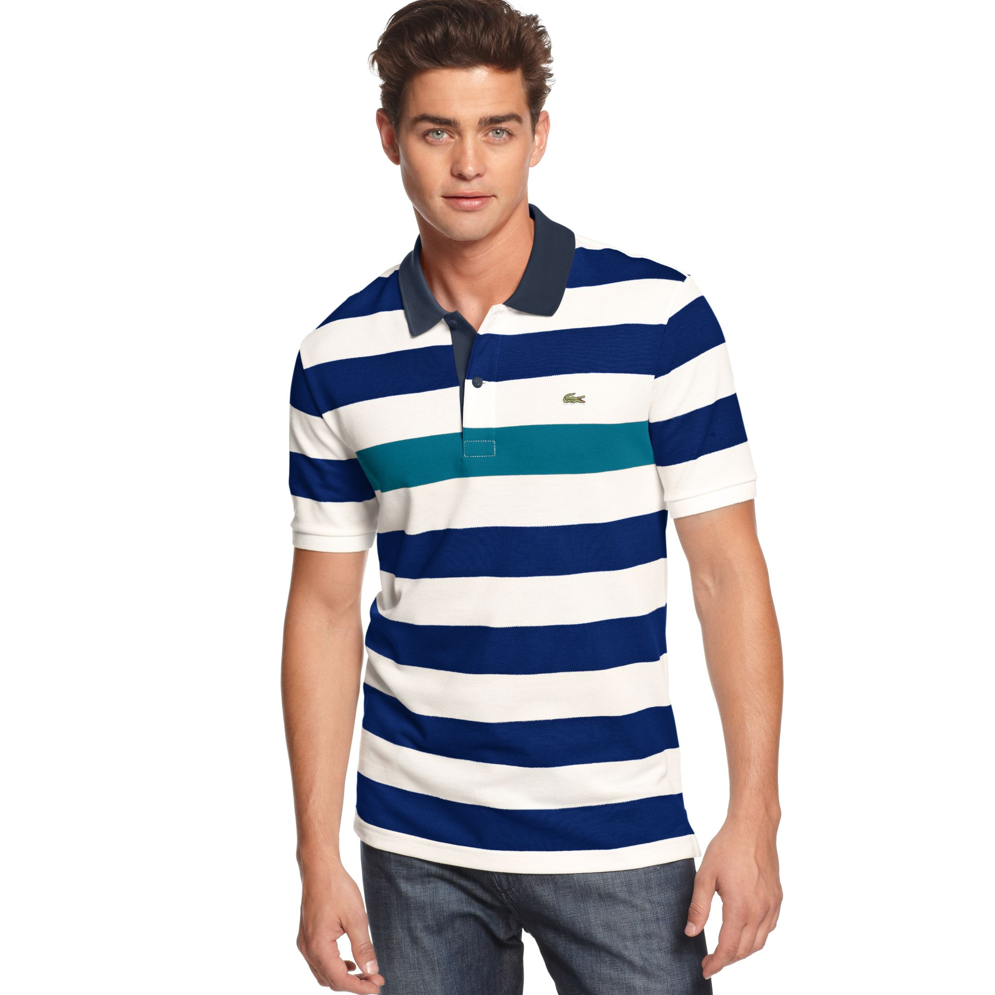Lacoste Shortsleeve Pique Barstriped Polo In Blue For Men