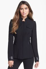 Lafayette 148 New York Wanda Leather Trim Jacket - Lyst