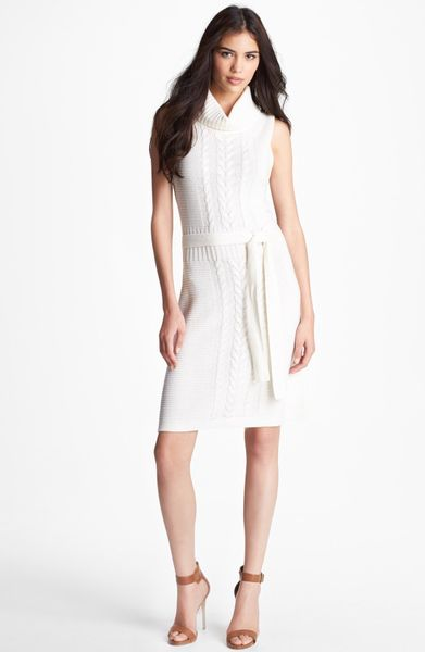 Laundry By Shelli Segal Mock Neck Sweater Dress in White ...