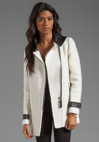 Mackage Kitty Novelty Boucle Wool Coat in Ivory - Lyst