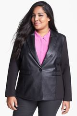 Michael by Michael Kors Faux Leather Ponte Knit Blazer - Lyst