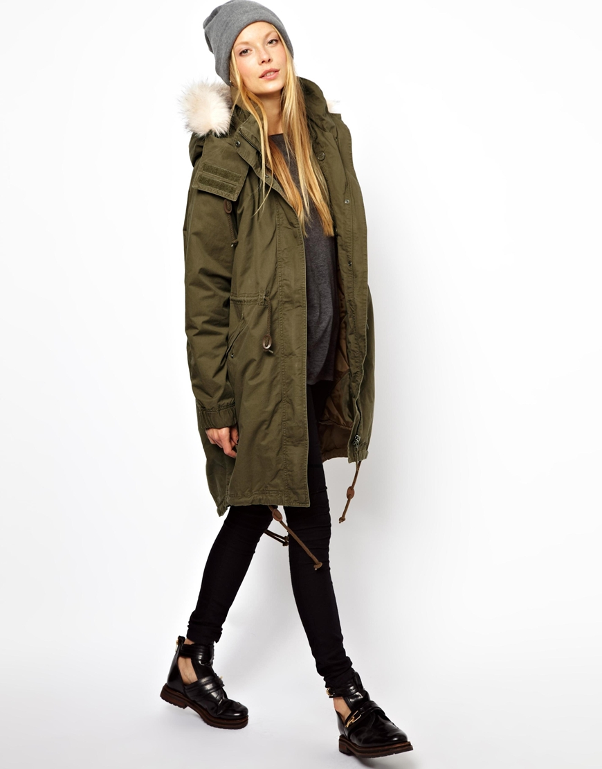 Lyst - Monki Parka with Faux Fur Trim Hood in Natural
