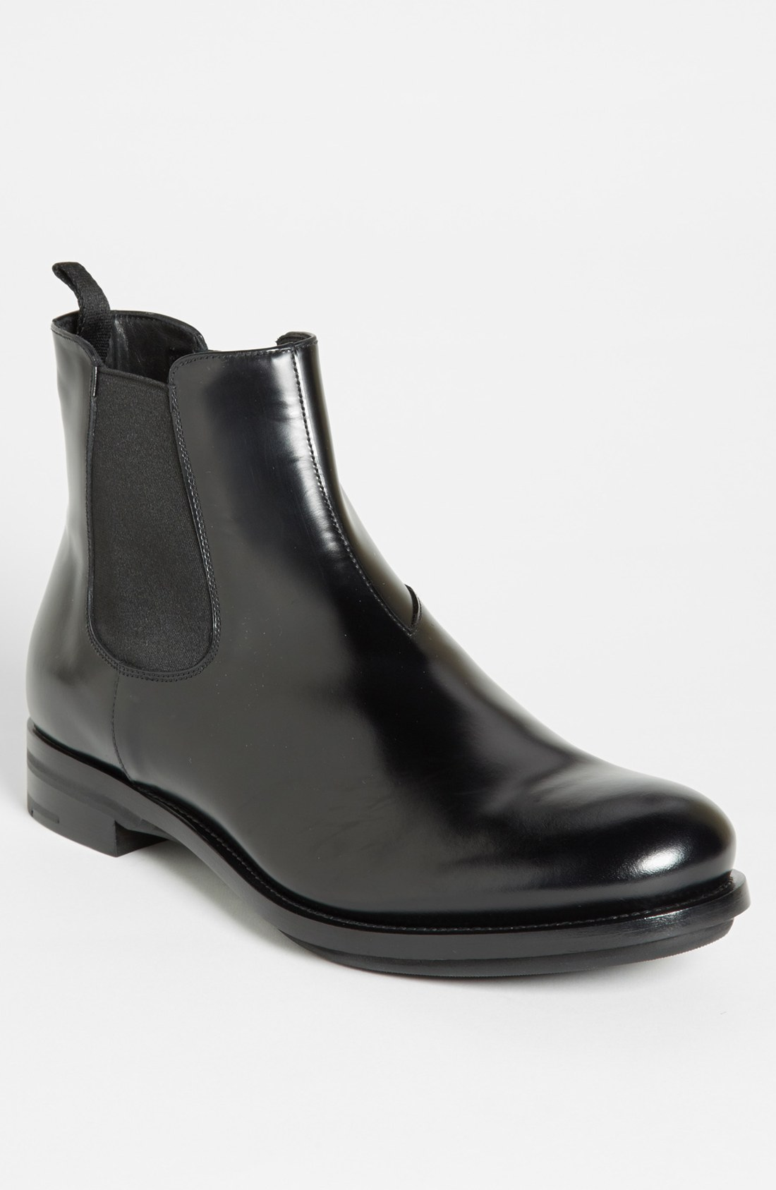 prada chelsea boot in black for lyst