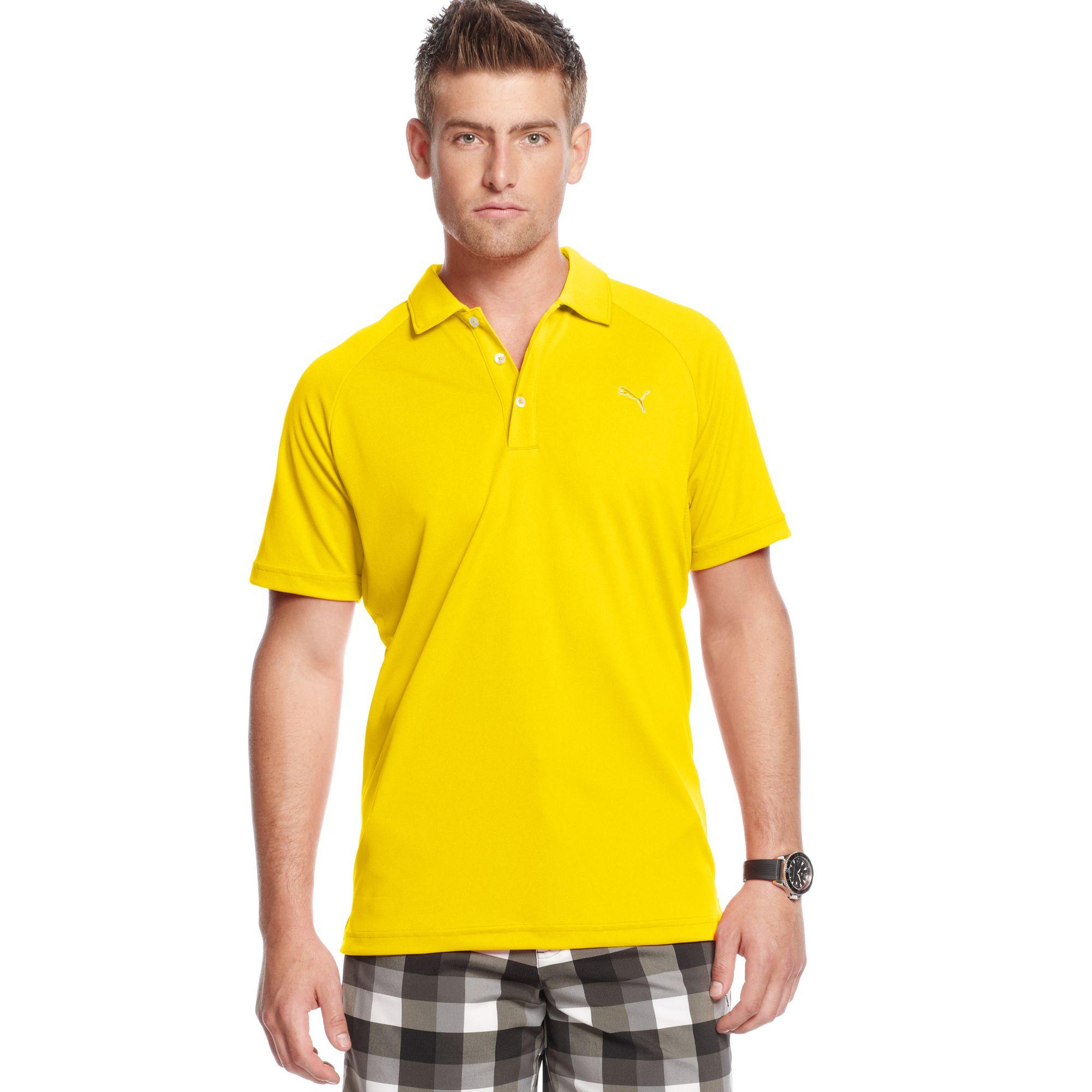 Puma raglan tech performance golf polo shirt in yellow for for Yellow golf polo shirts