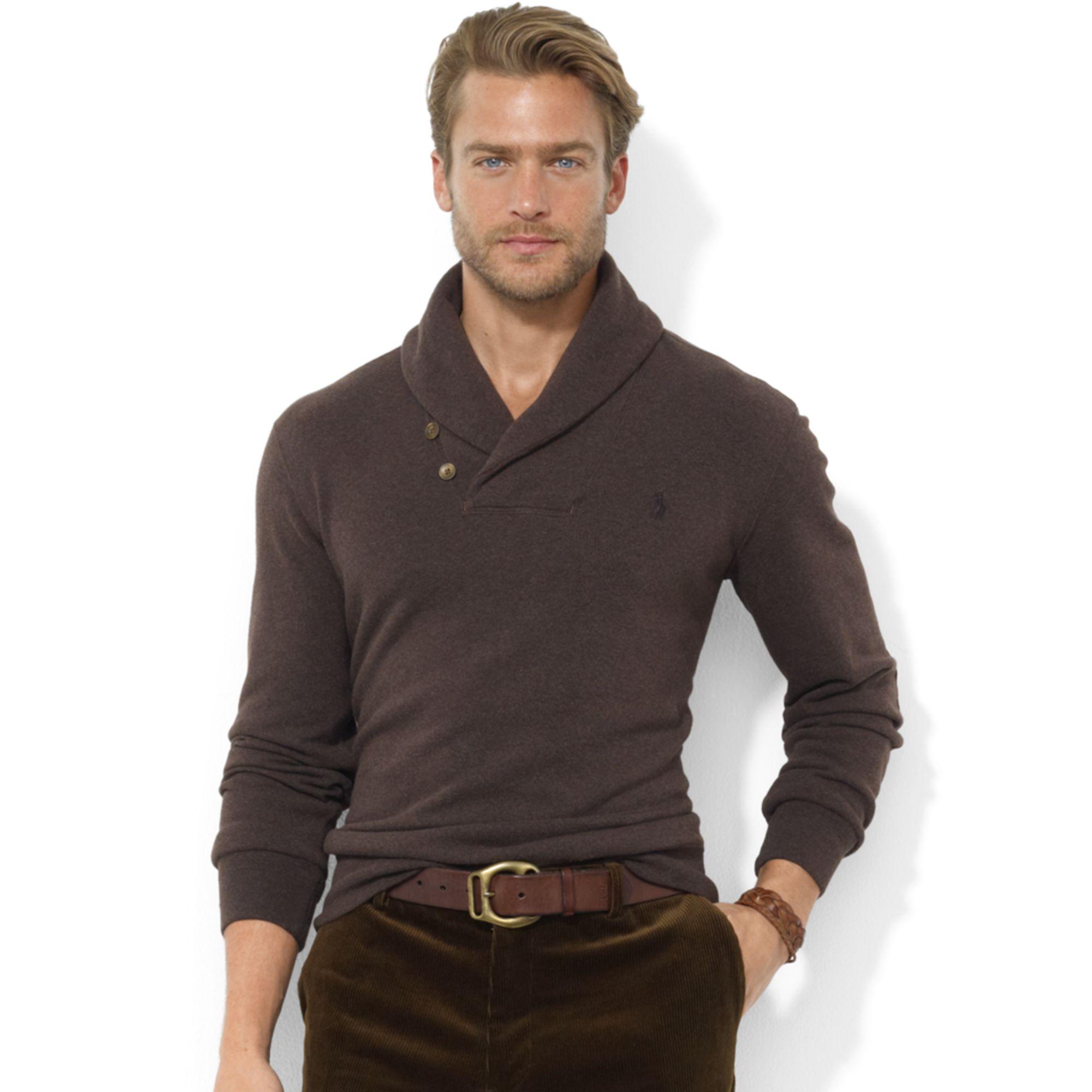 Ralph Lauren Käsilaukku : Lyst ralph lauren shawl collar fleece pullover in brown