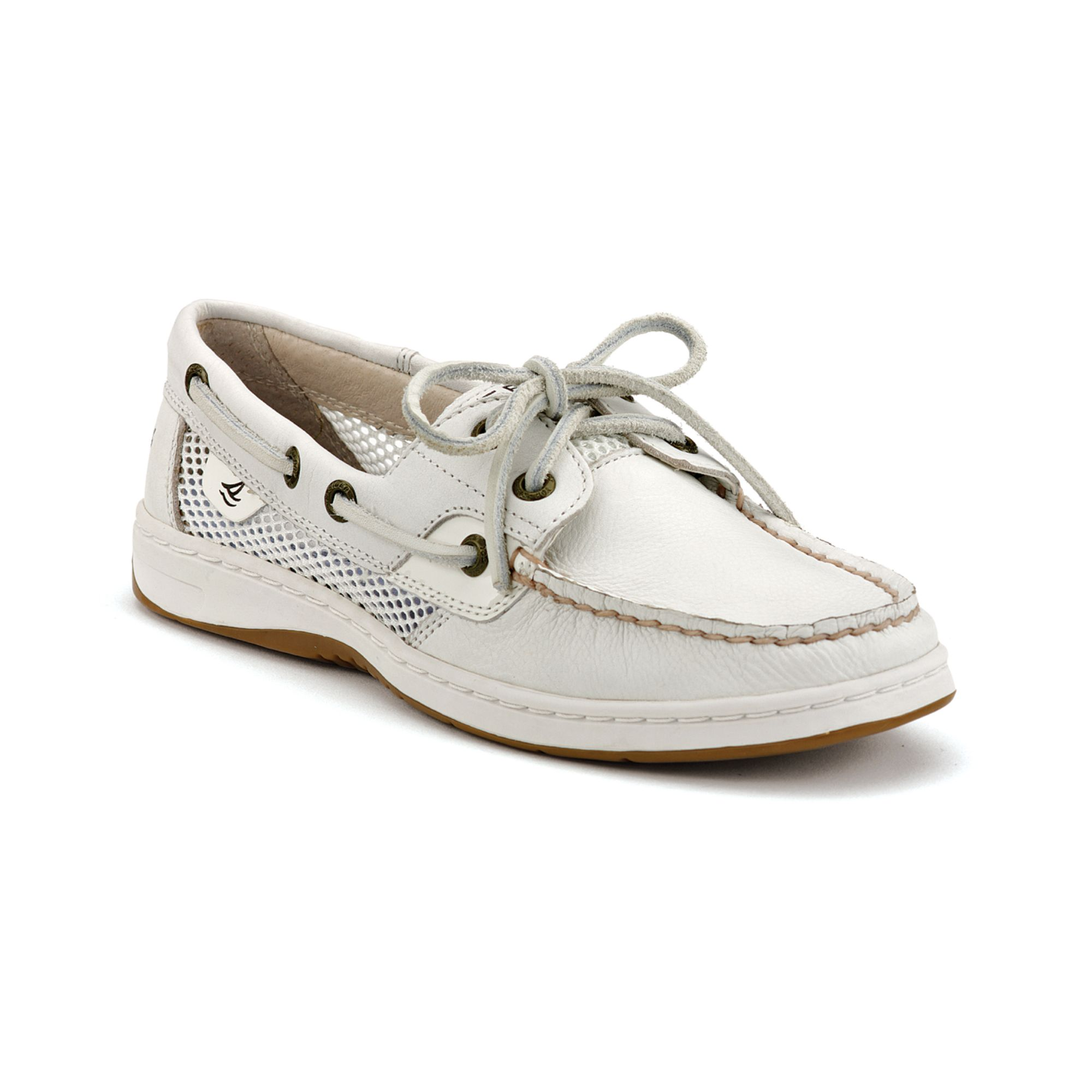 sperry top sider bluefish boat shoes in white white mesh
