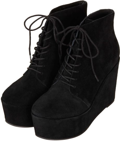 topshop alff lace up wedge boots in black lyst