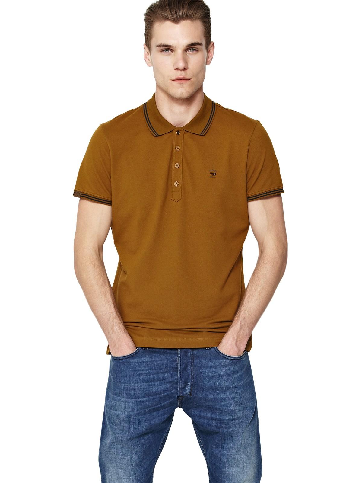 diesel diesel tnyx tipped mens polo shirt in orange for men mustard lyst. Black Bedroom Furniture Sets. Home Design Ideas