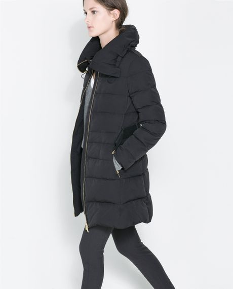 Zara Puffer Jacket With Wraparound Collar In Black Lyst