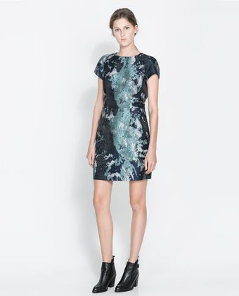 Zara Jacquard Dress - Lyst