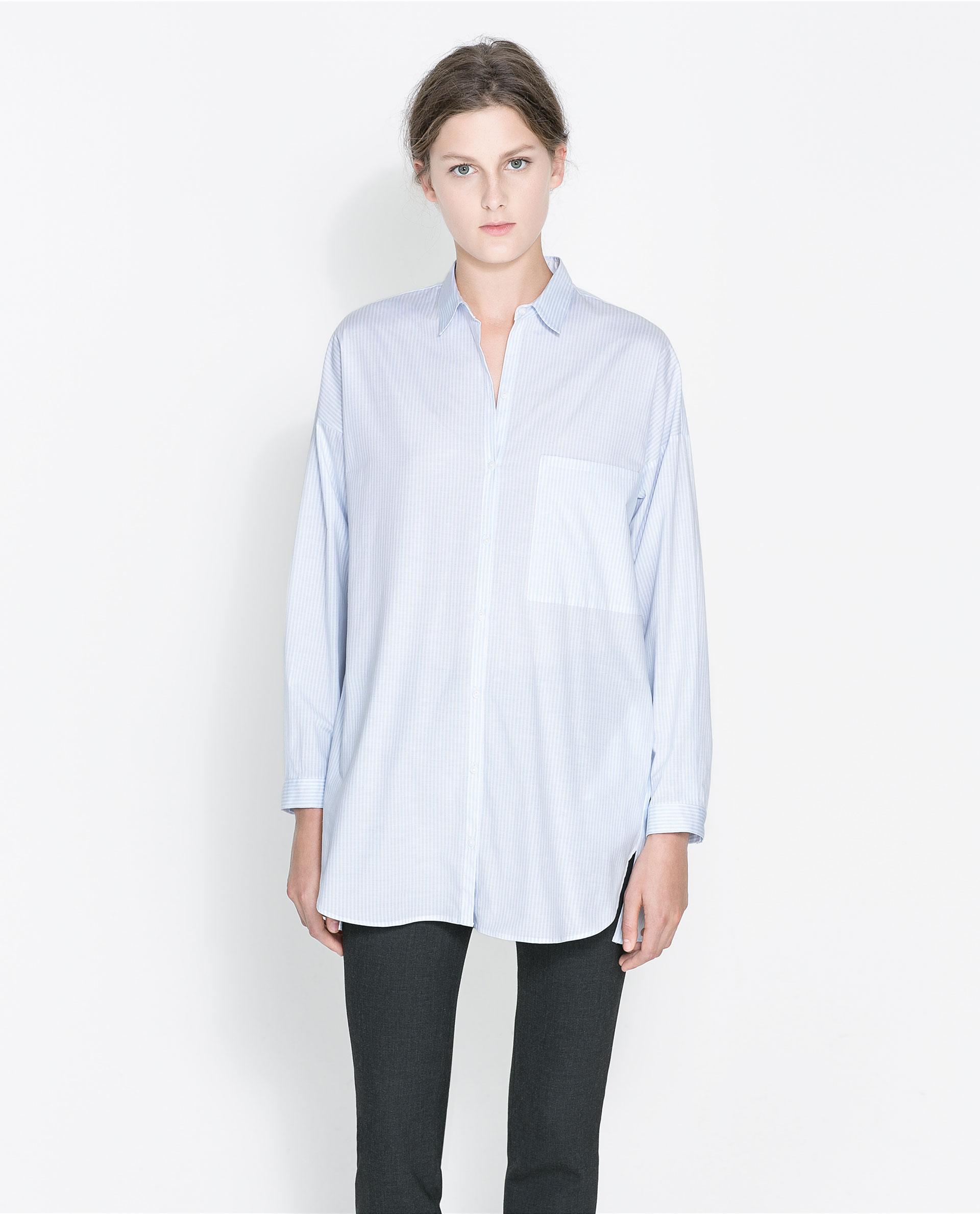 zara striped oversize shirt in blue lyst. Black Bedroom Furniture Sets. Home Design Ideas